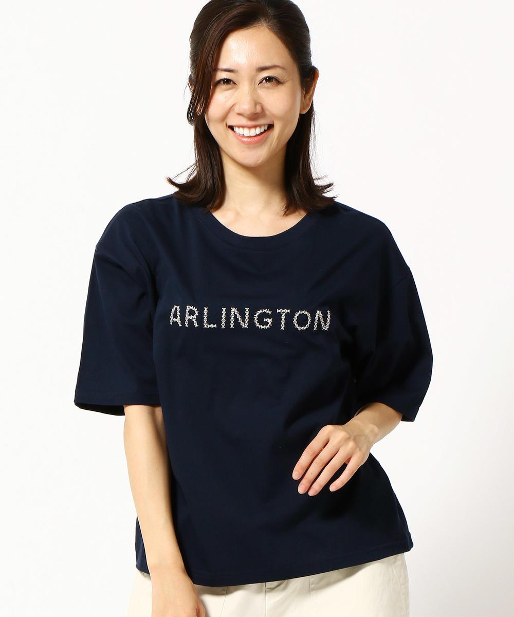 ロゴ刺繍入り半袖クルーネックTシャツ