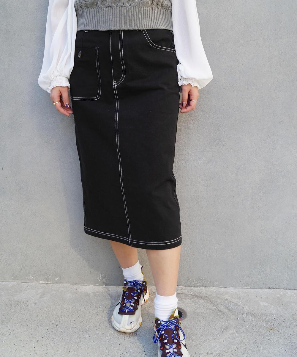 バックレースアップミディ丈スカート