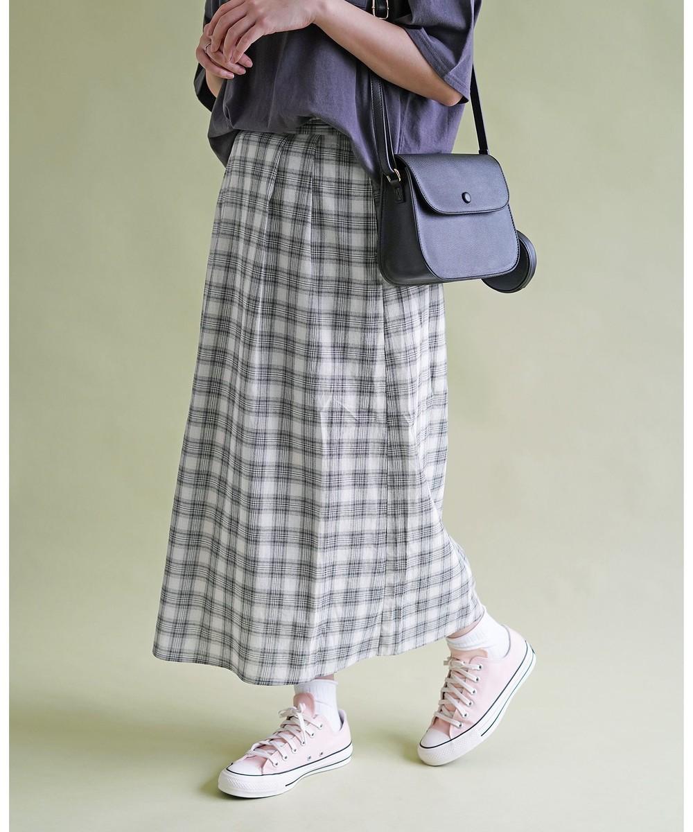 チェックロングギャザースカート