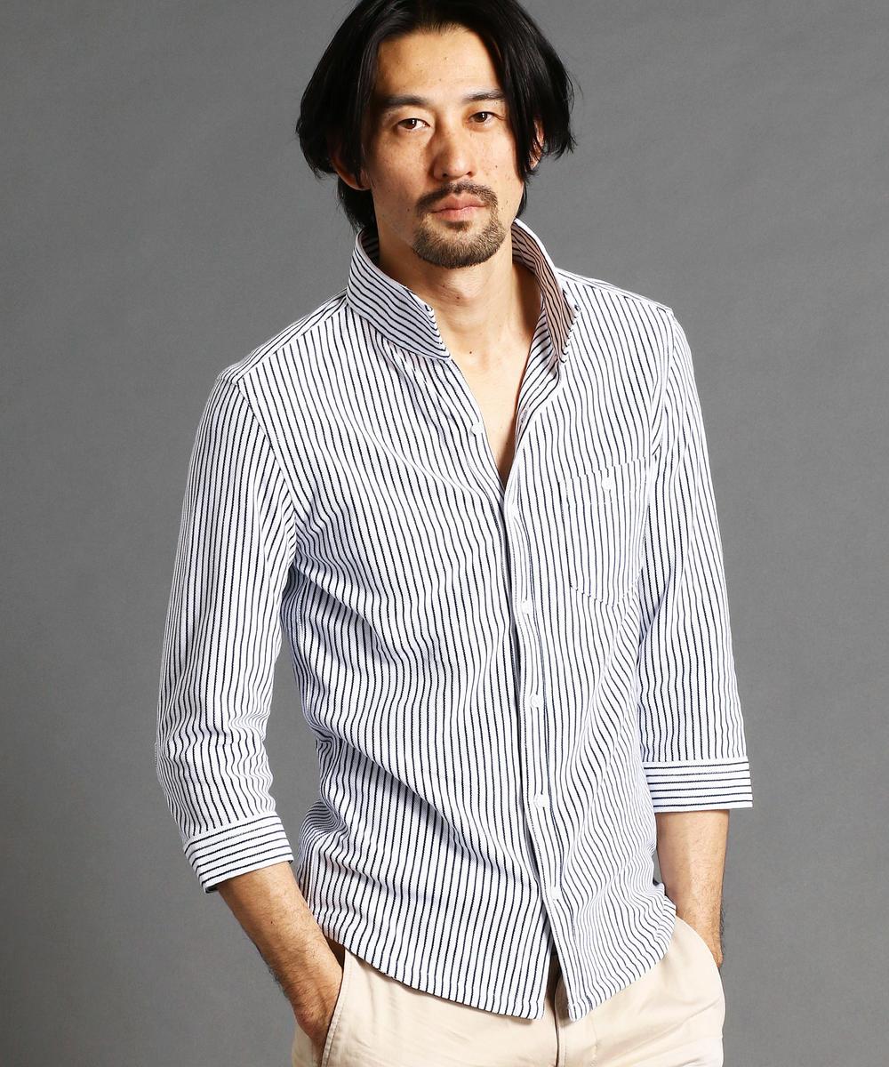 《TIME SALE対象》ストライプ柄7分袖シャツ