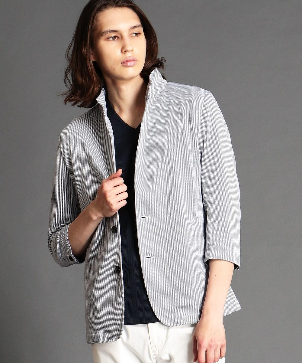 スタンドカラー七分袖ジャケット