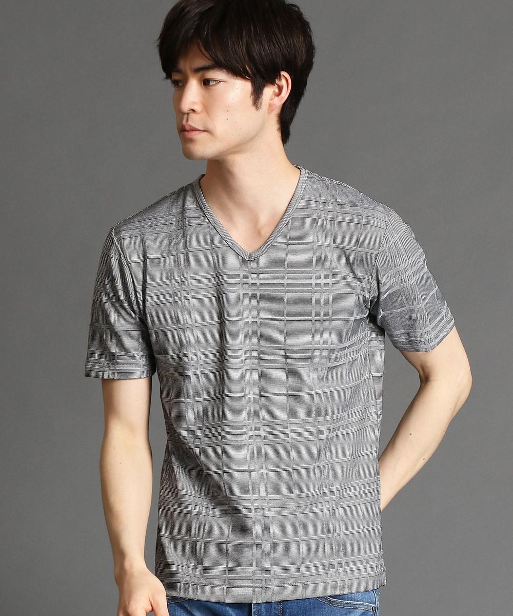 リンクスチェックVネックTシャツ