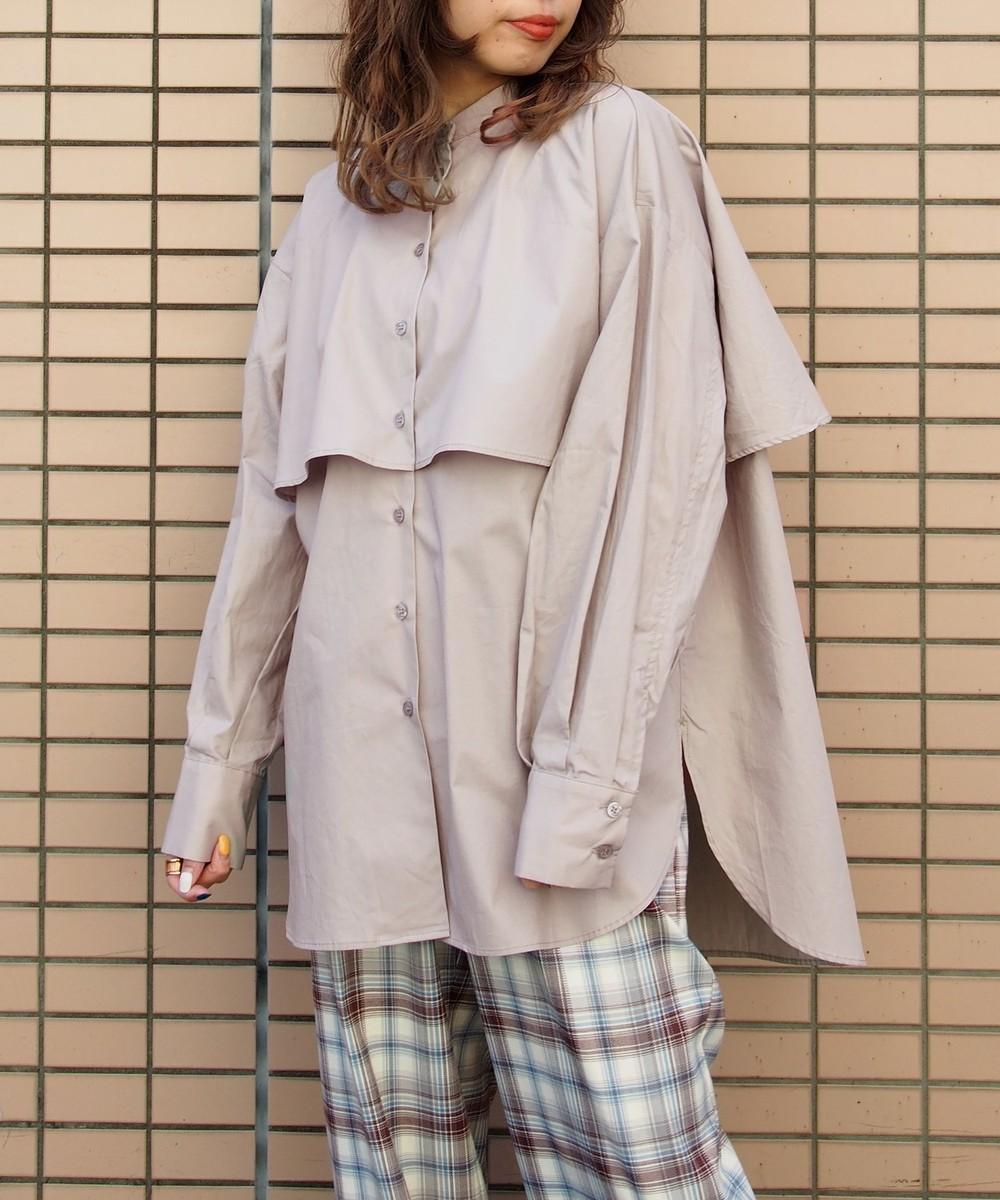 ケープ風オーバーサイズシャツ