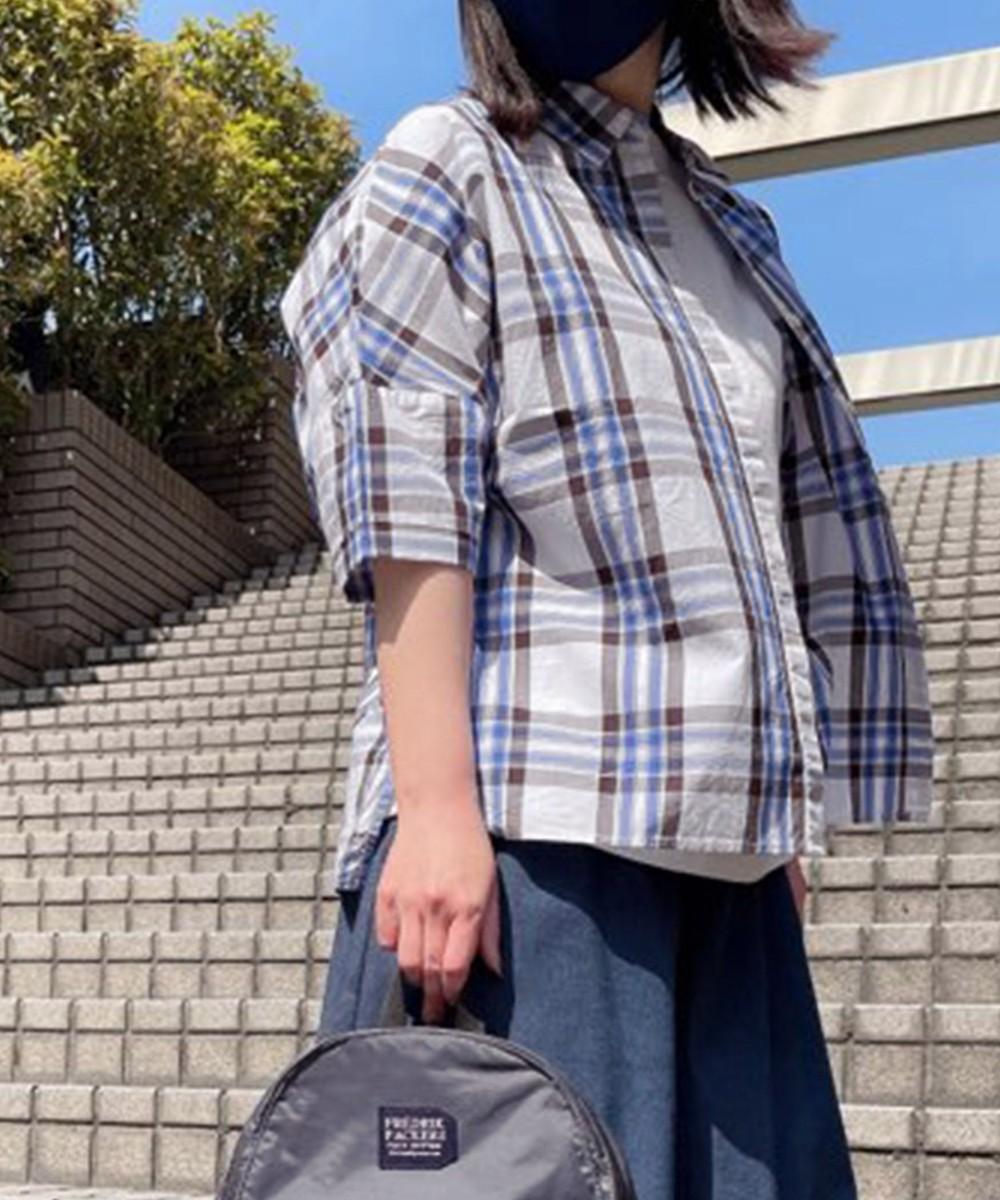 【2BUY10%OFF対象】チェック半袖シャツ