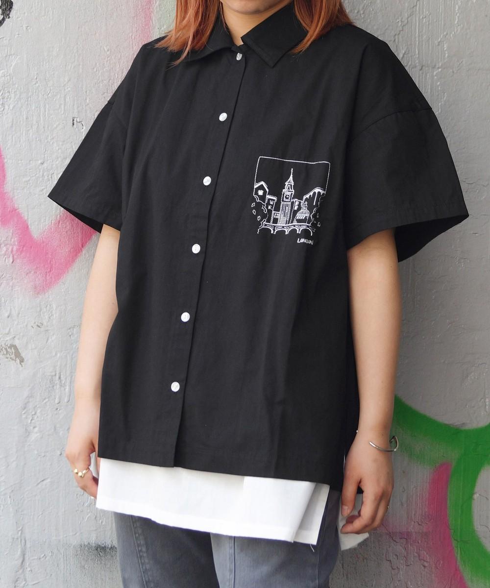刺繍イラスト半袖シャツ