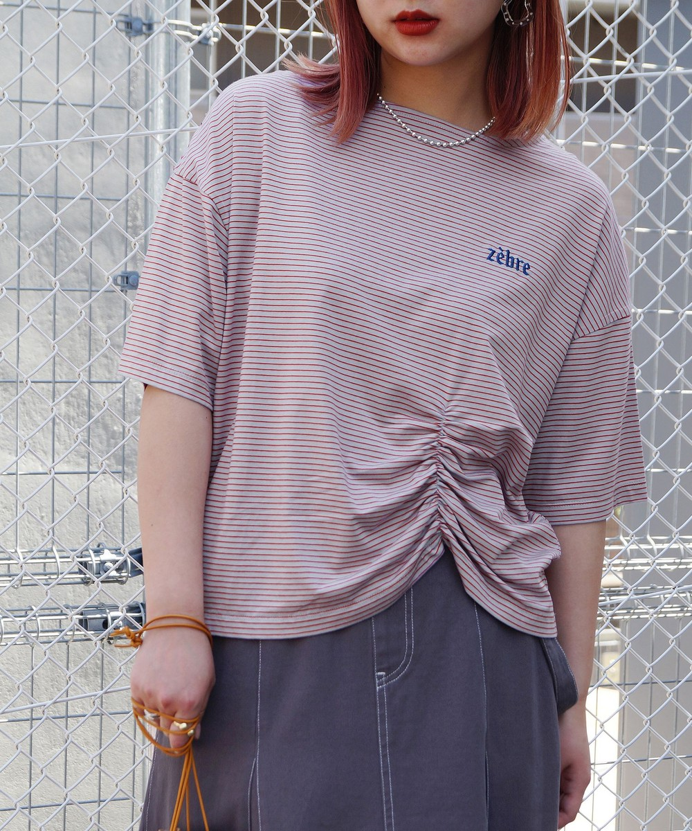 【再値下げ】ボーダーギャザーデザインTシャツ