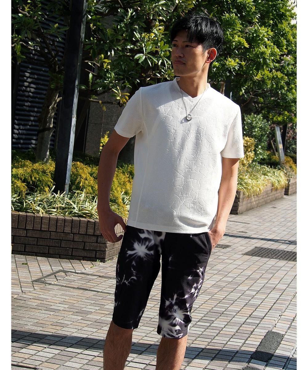 ブリスタージャカード柄VネックTシャツ