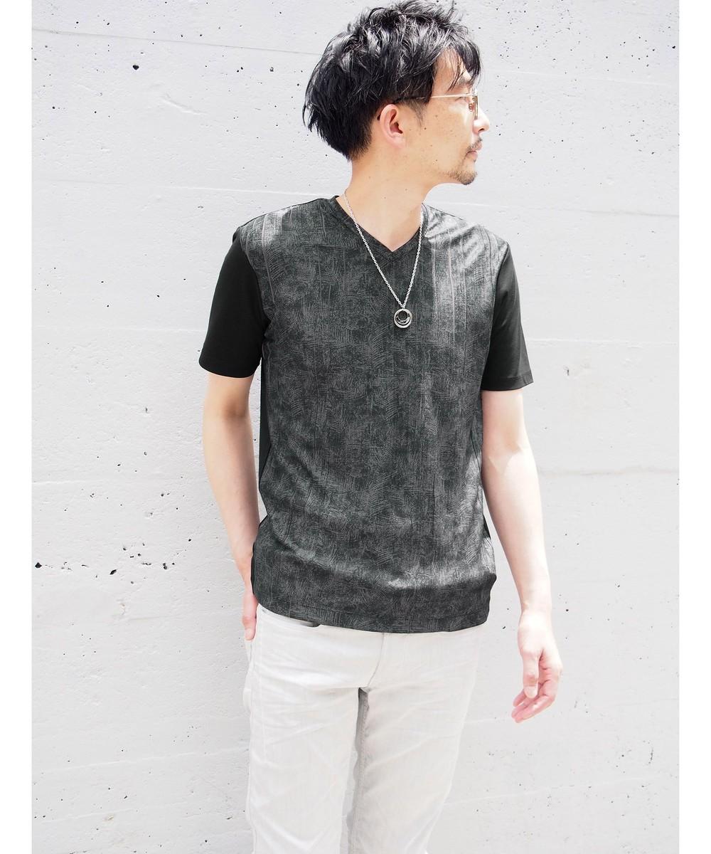 ボタニカル風柄切り替え半袖Tシャツ