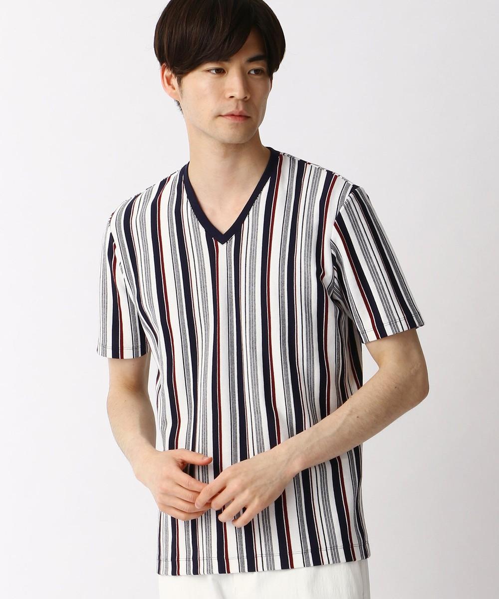 マルチストライプVネックTシャツ