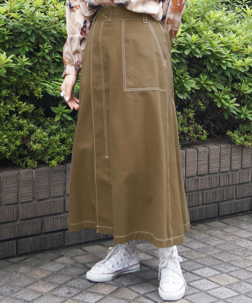 ワーク風フレアロングスカート