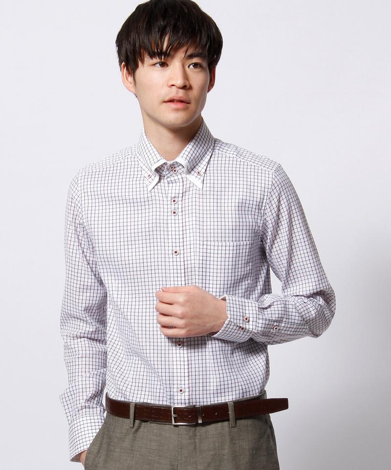 ボタンダウンダブルカラードレスシャツ