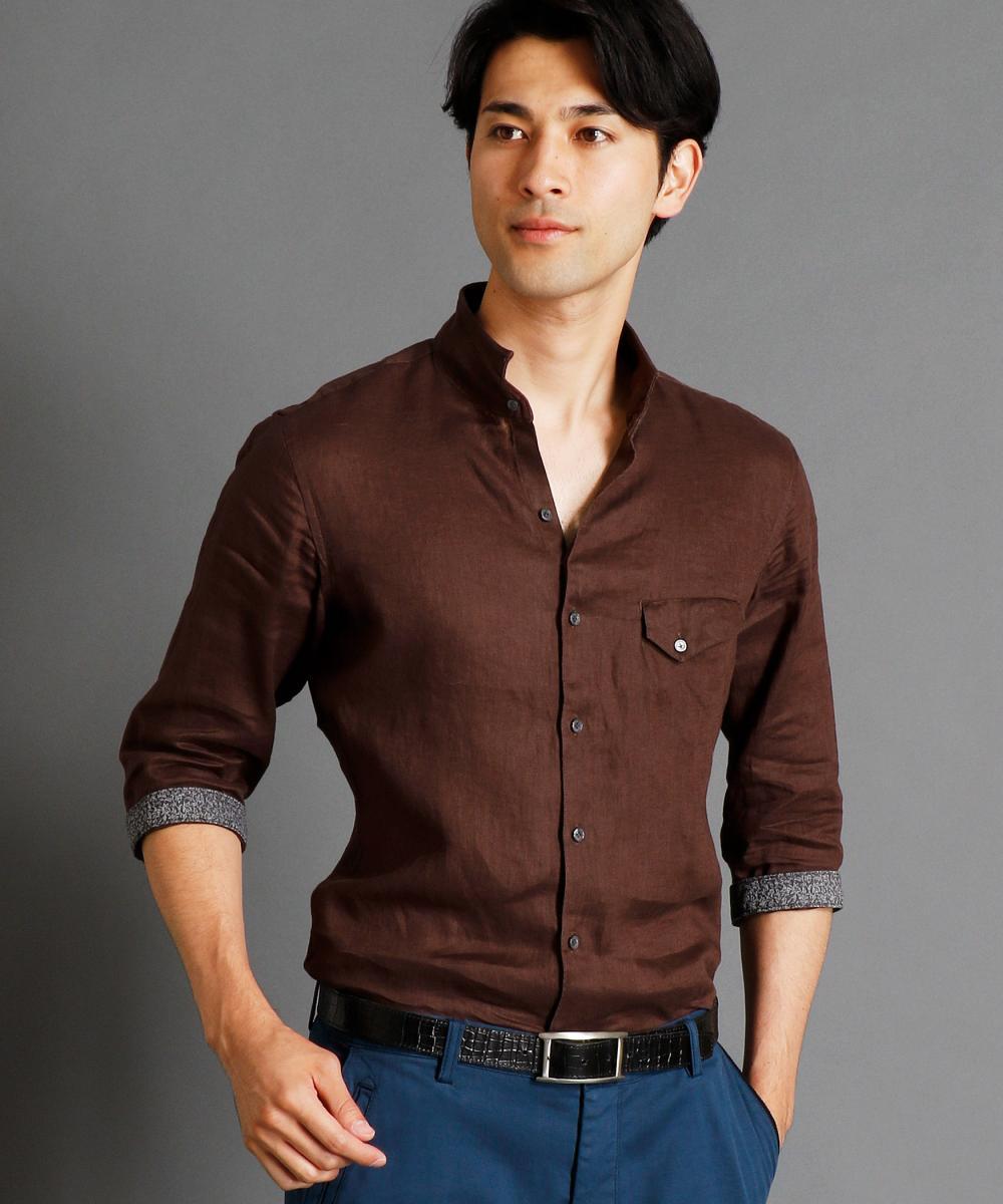 【再値下げ】7分袖スタンドカラーリネンシャツ