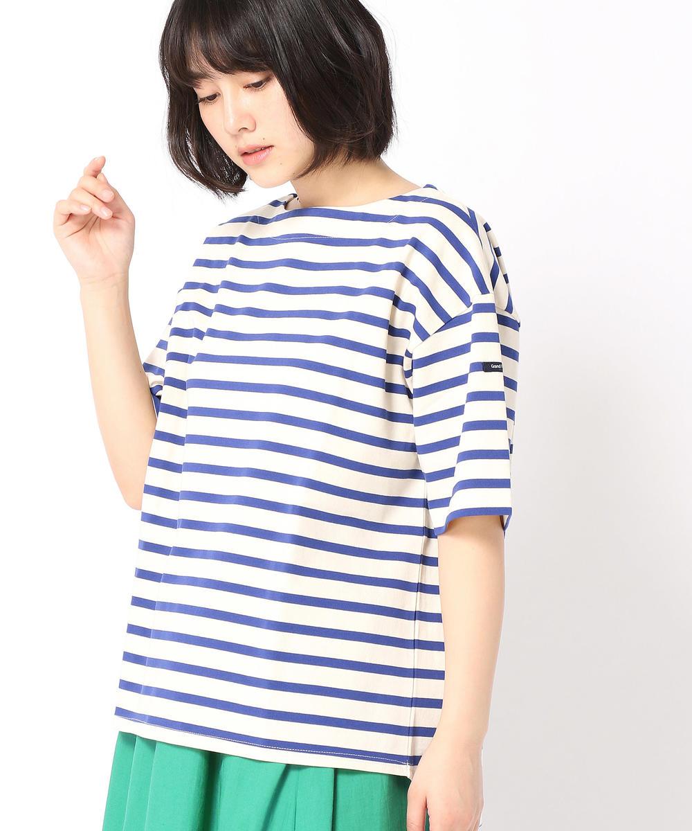 デラヴェボーダー柄半袖Tシャツ