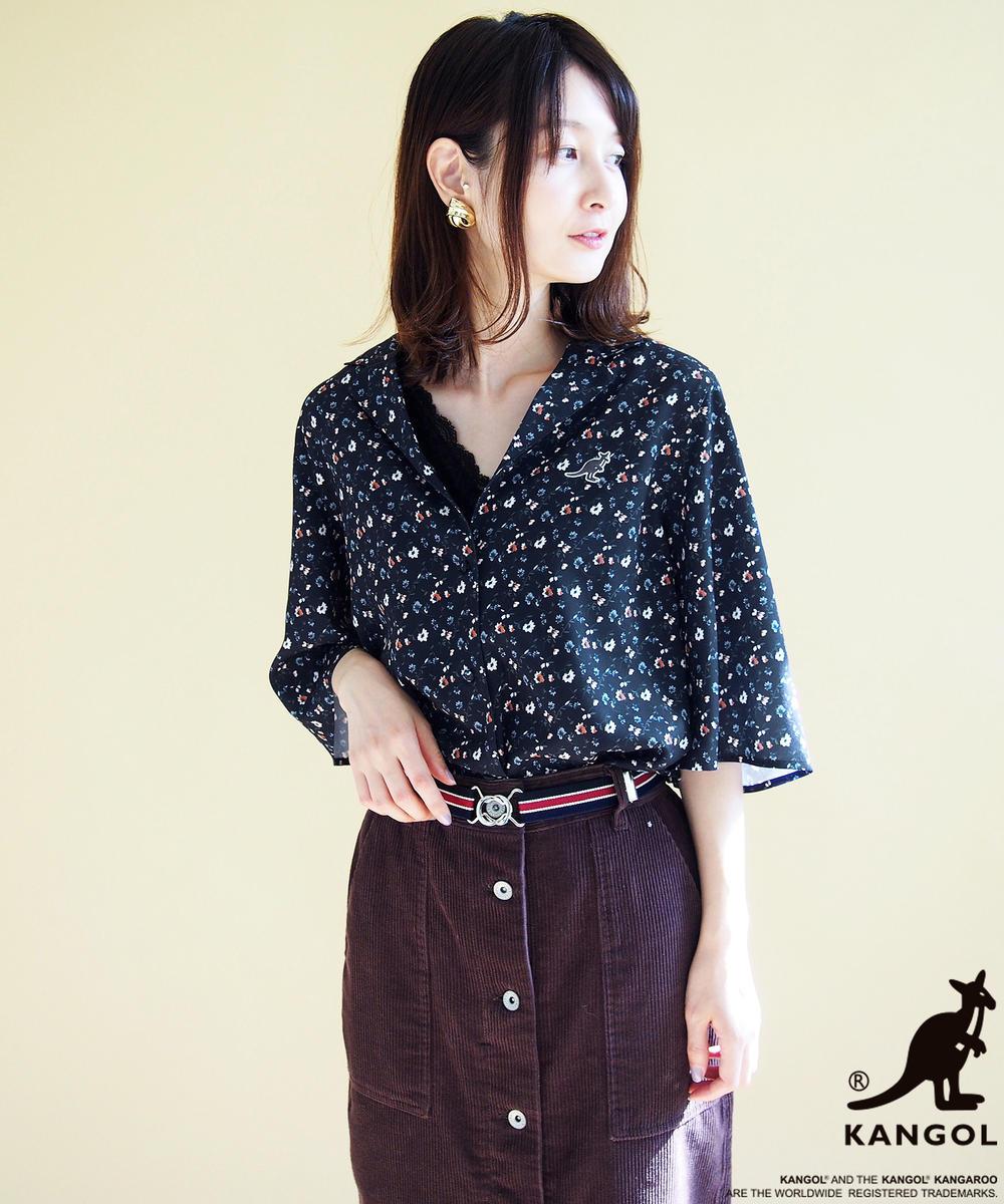 KANGOLコラボ小花柄プリント開襟7分袖シャツ