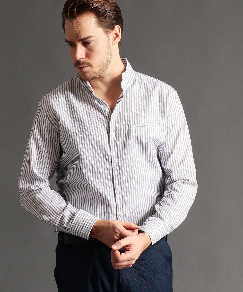 【再値下げ】<大きいサイズ>ストライプ柄スタンドカラーシャツ