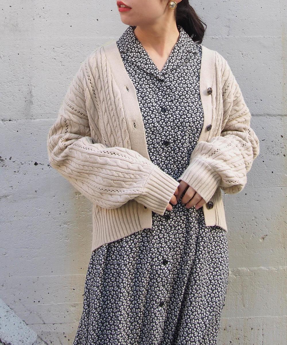 【再値下げ】ケーブル編みショートカーディガン