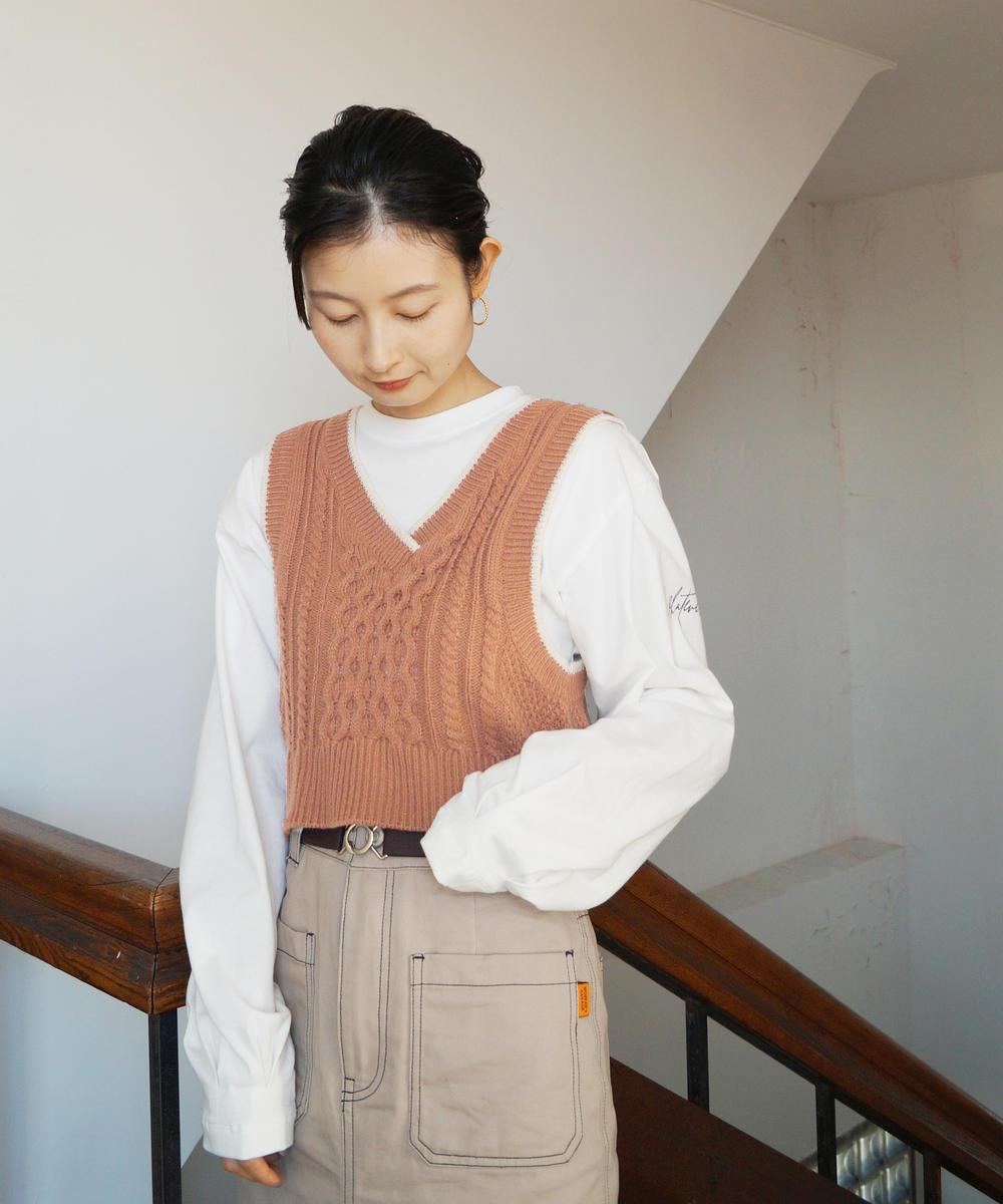 『mer3月号掲載』ロングスリーブTシャツ&ニットベストセット
