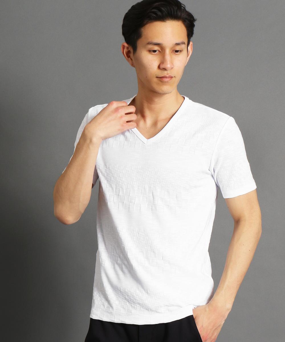 市松×ボーダー柄半袖VネックTシャツ