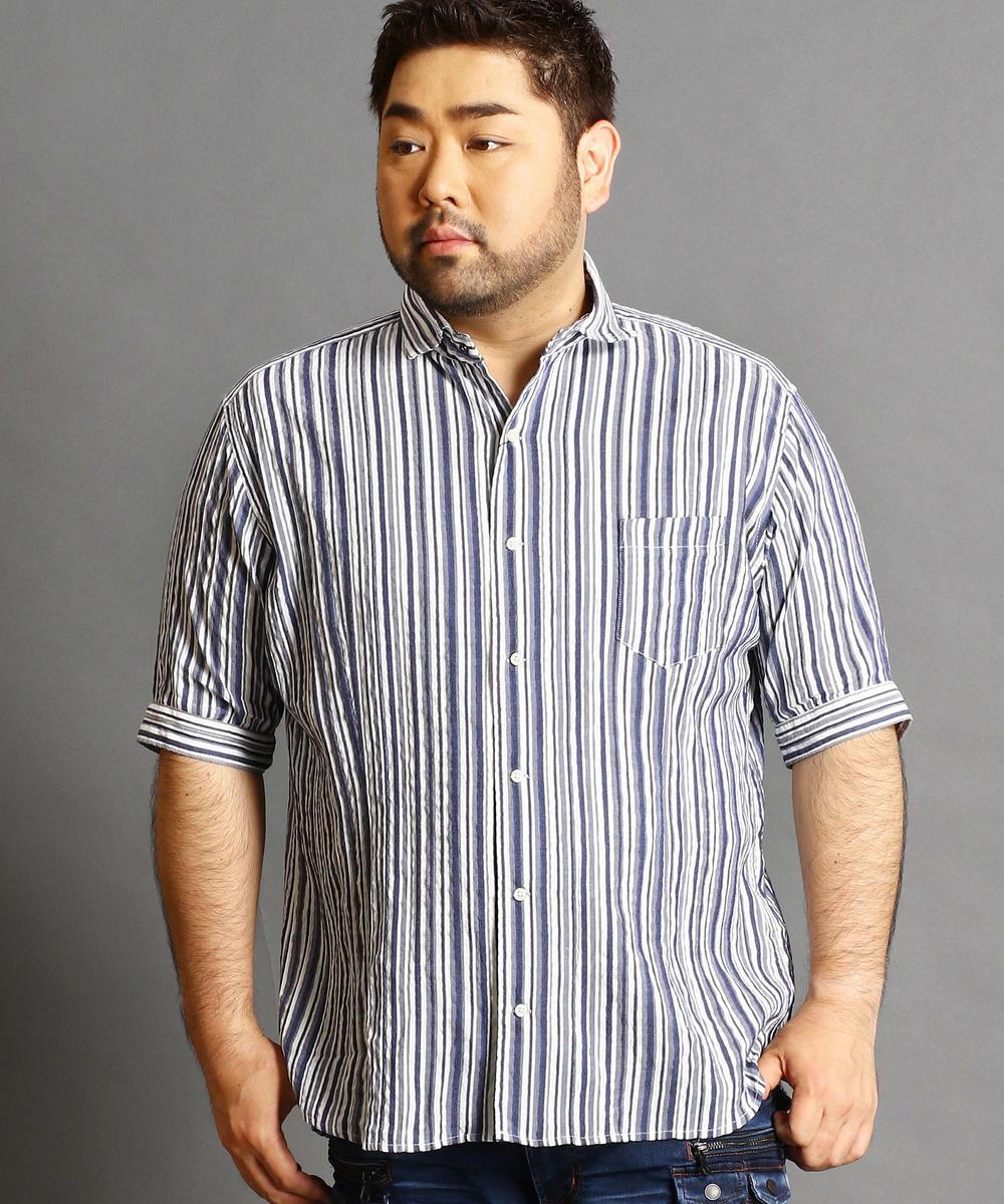 <大きいサイズ>五分袖ホリゾンタルカラーシャツ