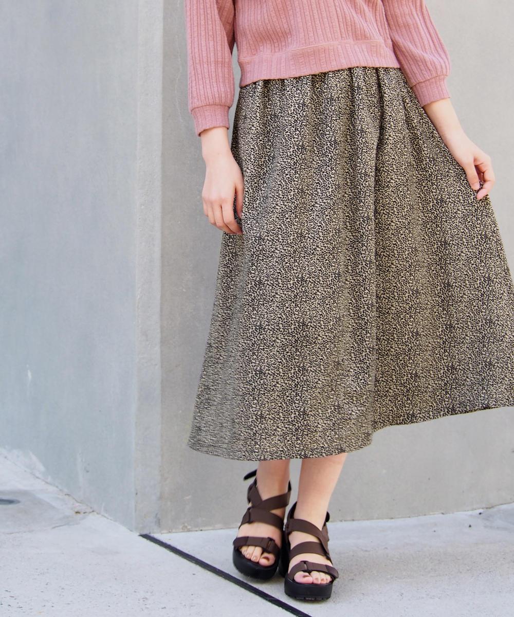 レオパード柄ギャザースカート