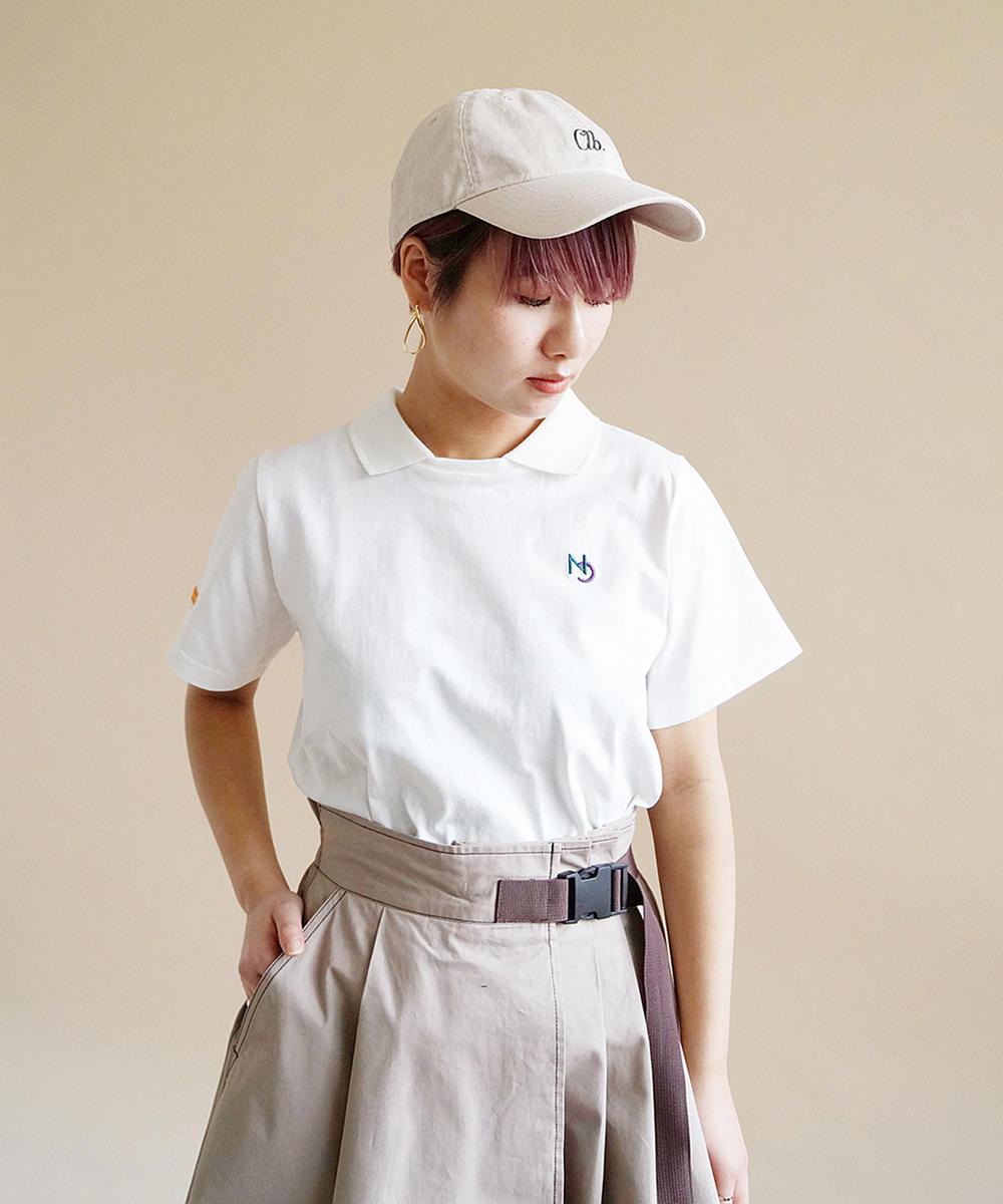 ワンポイント刺繍襟付きTシャツ