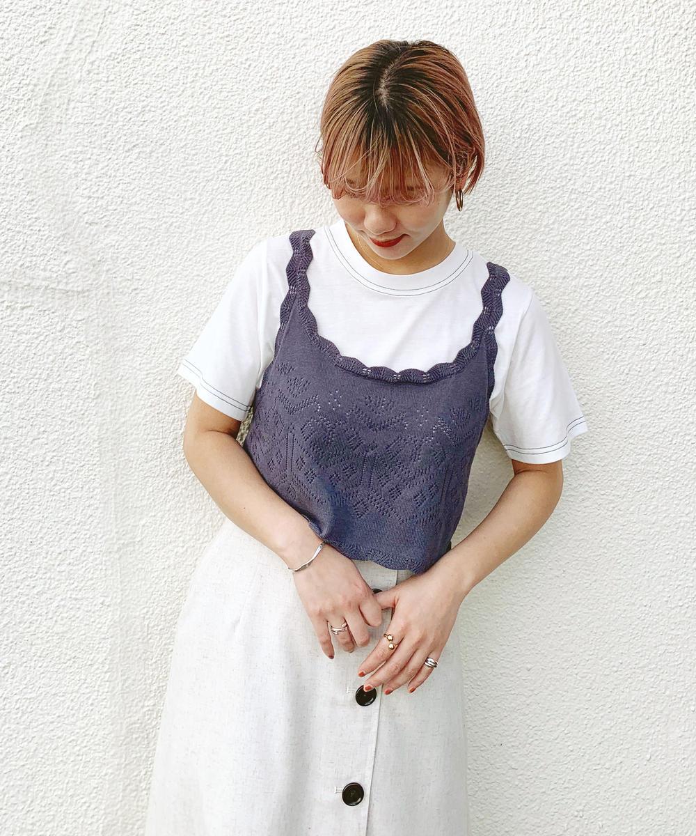 透かし編みニットビスチェ+Tシャツセット