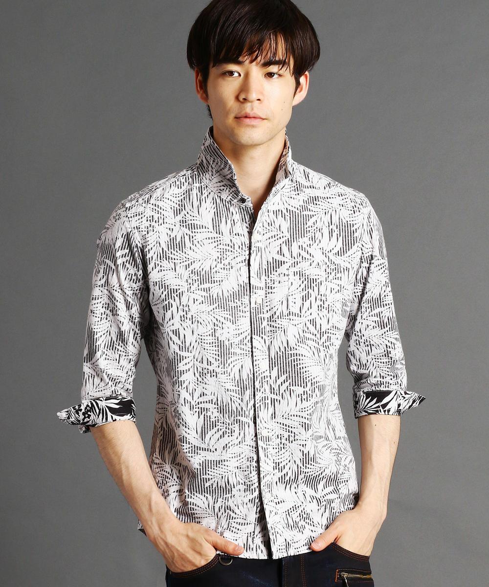7分袖&5分袖総柄フーディシャツ