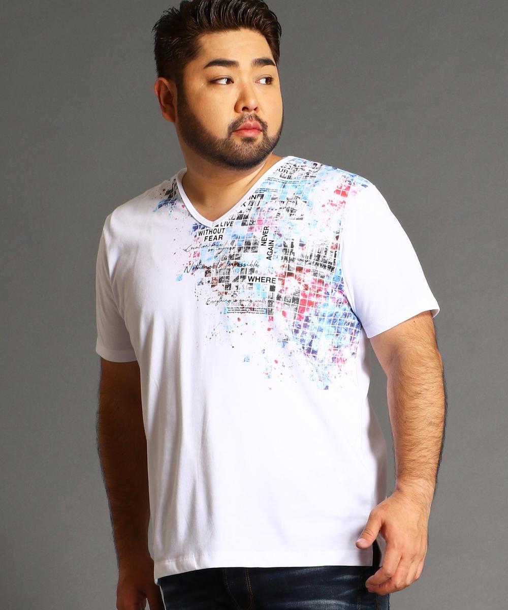 <大きいサイズ>タイルフォトプリント柄VネックTシャツ