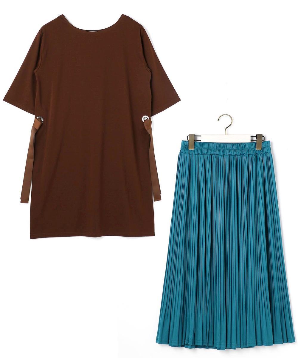 ロングTシャツ&プリーツスカートセット
