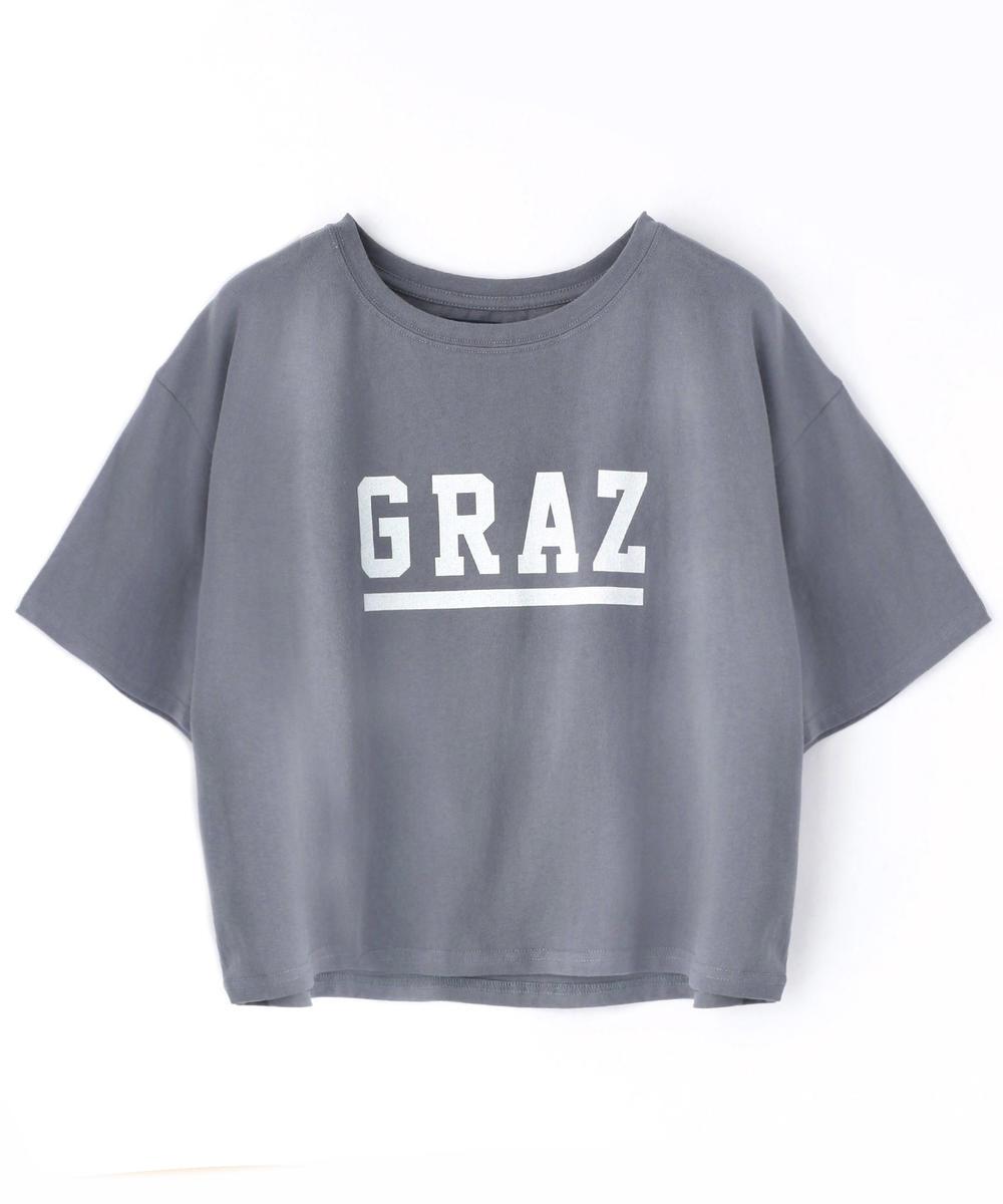 ロゴプリントショート丈Tシャツ
