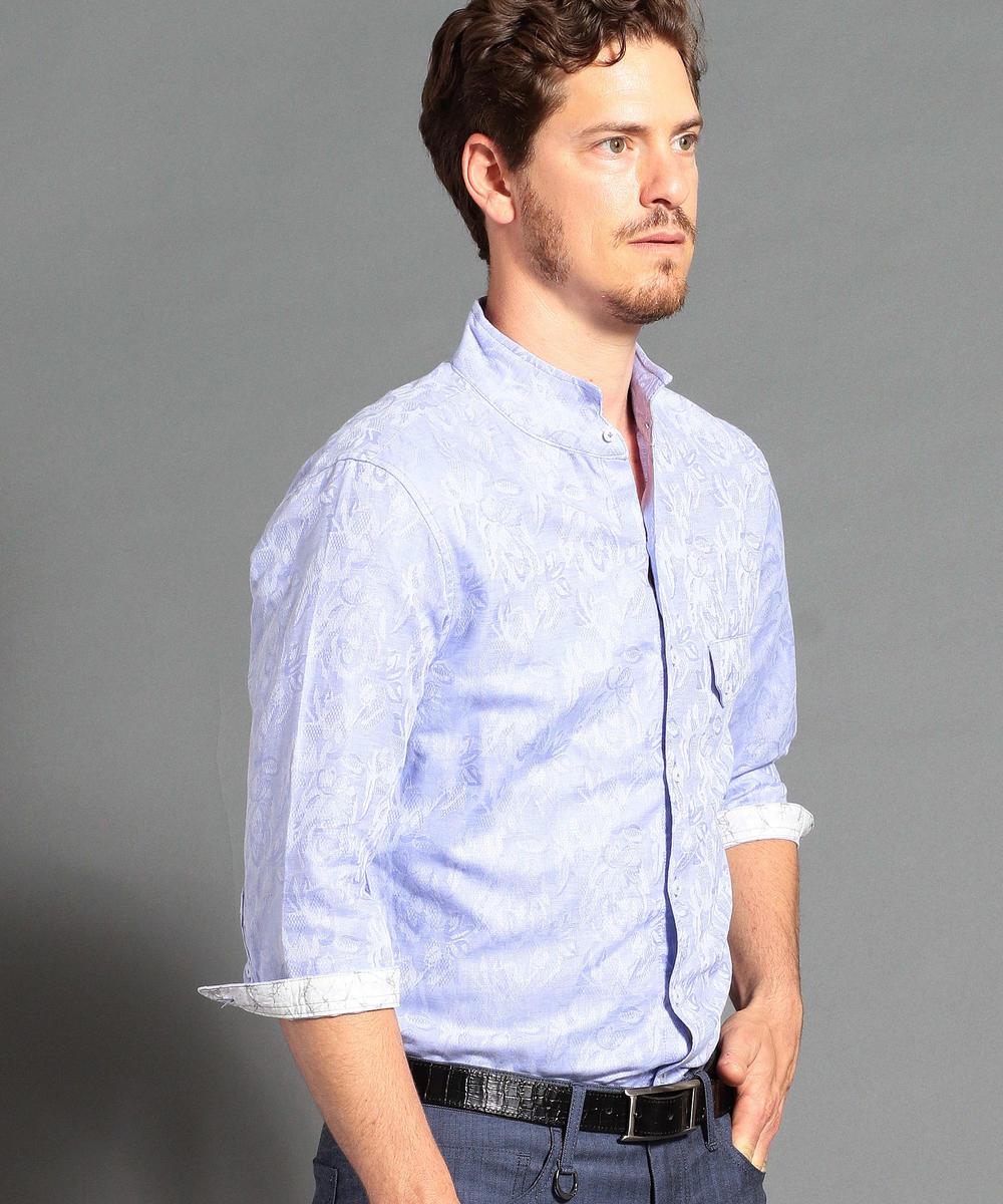 コットン×リネンジャカード7分袖シャツ