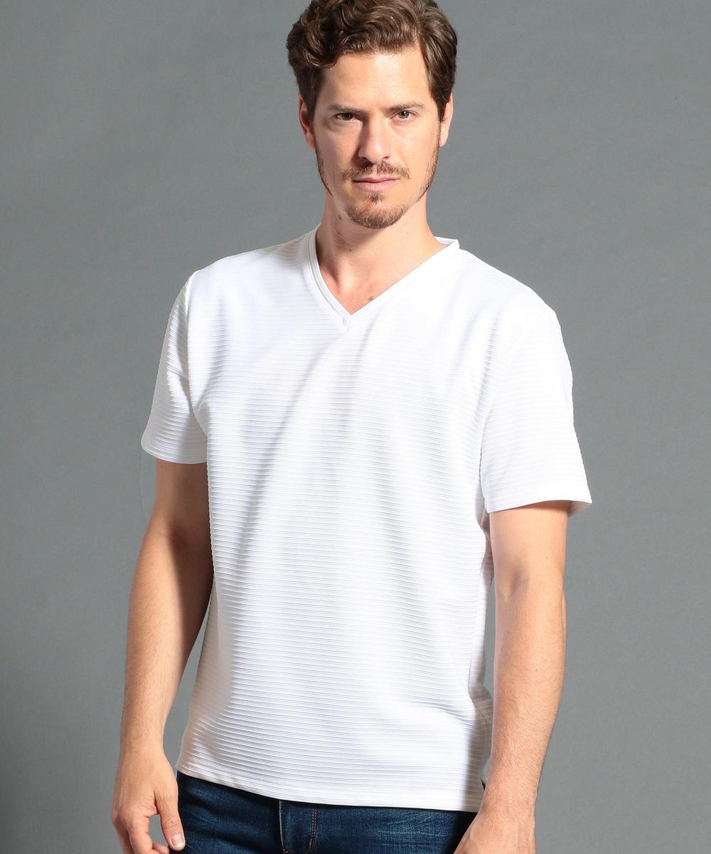タックボーダー柄VネックTシャツ