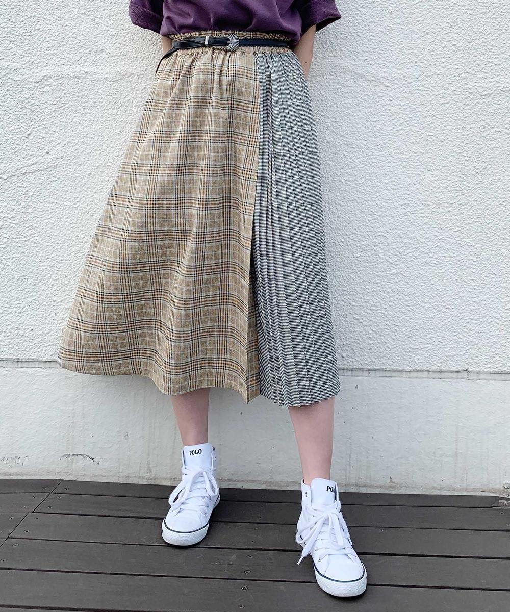 切り替えチェック柄スカート
