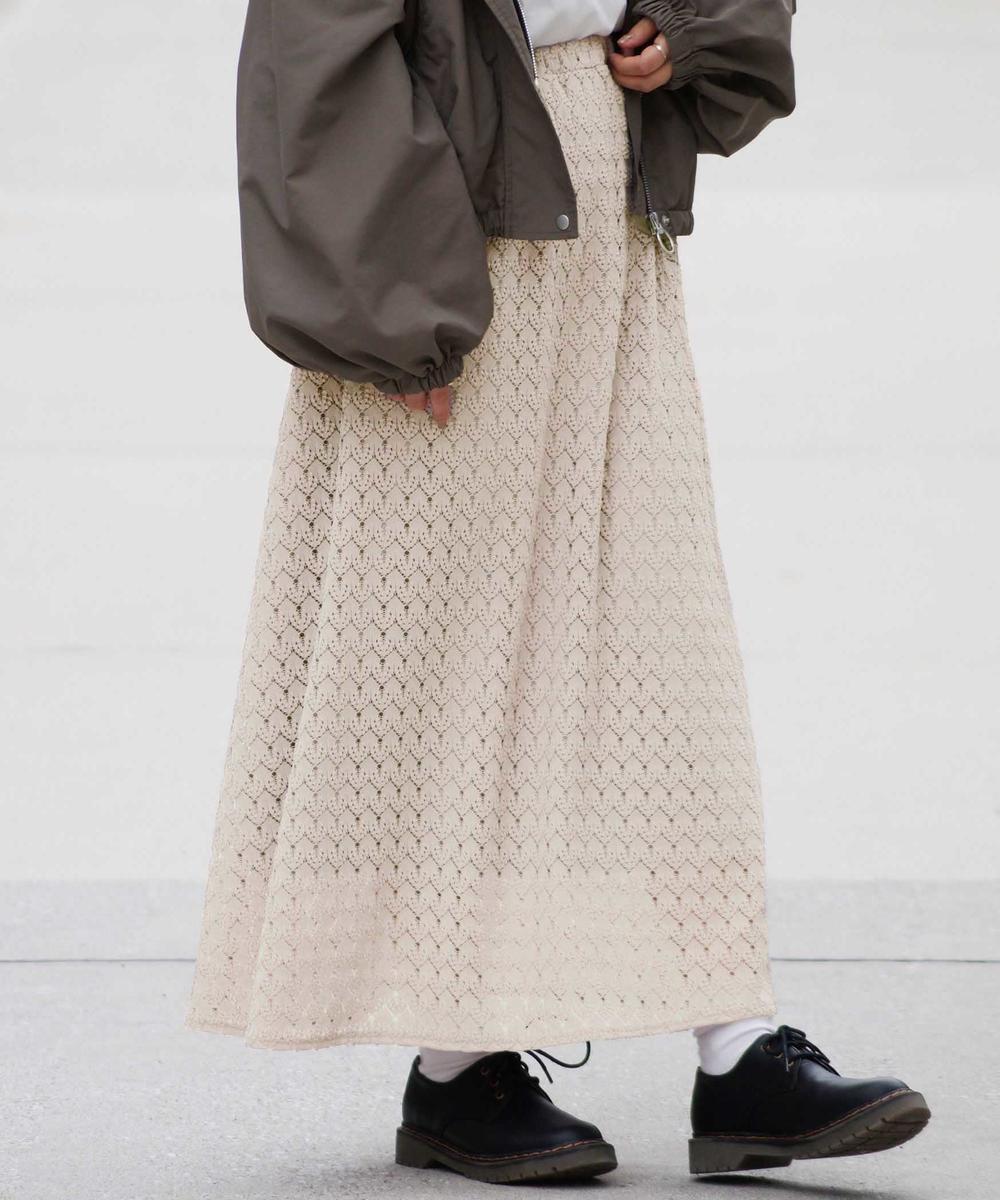 総柄ニットAラインスカート
