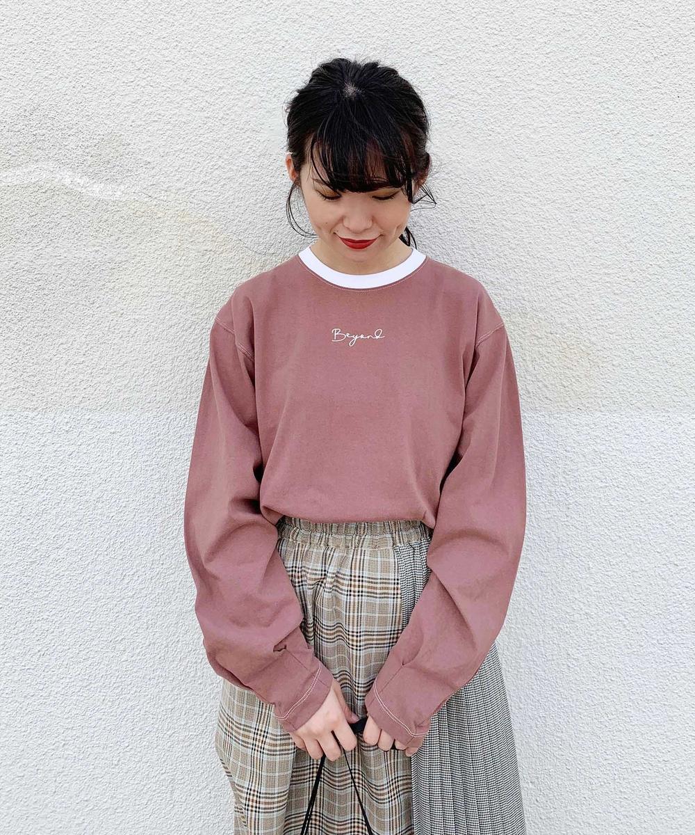 『mini10月号雑誌掲載』ロゴ刺繍バイカラーボリューム袖ロンT