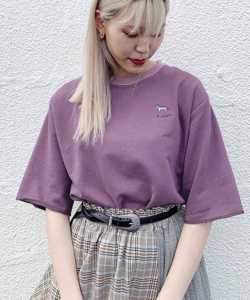 ダルメシアン刺繍5分袖トップス