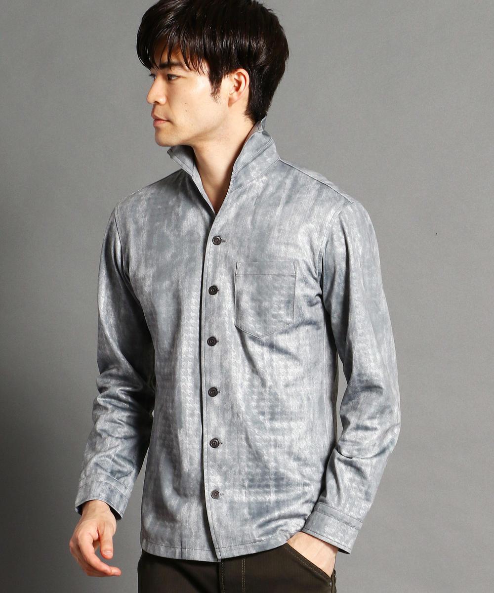 千鳥格子型押しムラ染めシャツ