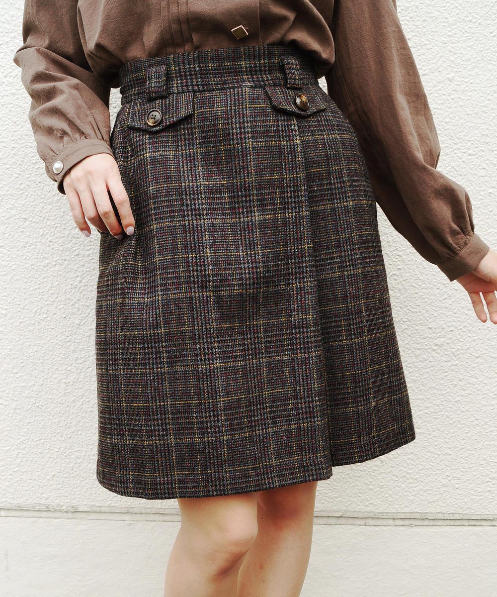 起毛チェック柄台形スカート