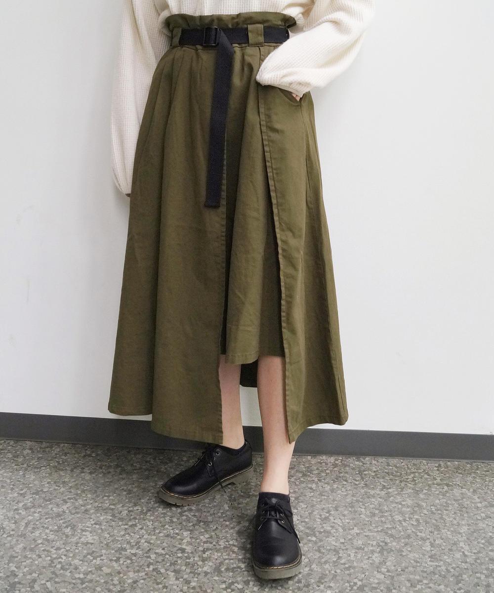 ベルト付きイレギュラーヘムスカート
