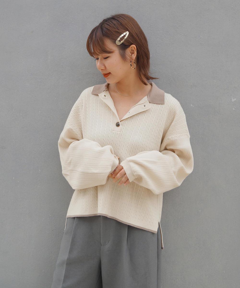 リブ×ケーブル編み配色衿ニットポロ